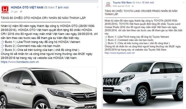 Fanpage lừa đảo trúng thưởng 80 chiếc ô tô Honda CRV.