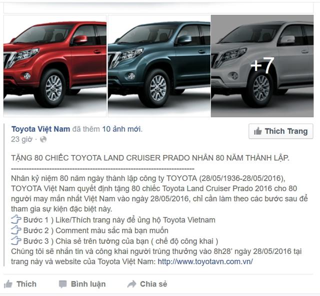 Thông tin lừa đảo giải thưởng 80 chiếc Land Cruiser Prado.