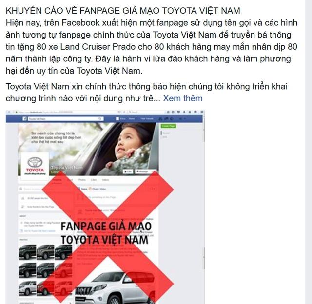 Fanpage chính thức của Toyota Việt Nam khuyến cáo lừa đảo trúng thưởng xe tiền tỉ.