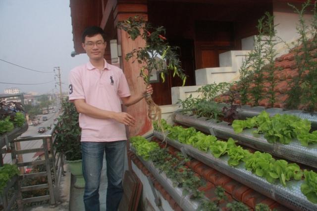 Anh Thám bên vườn rau sạch trên mái nhà của mình. Ảnh: Phan Ngọc