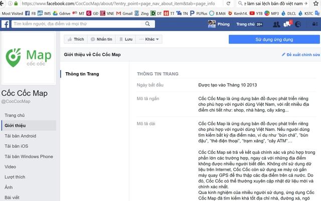 Giới thiệu bản đồ Cốc Cốc trên fanpage facebook, hoặc trong google play, app store...