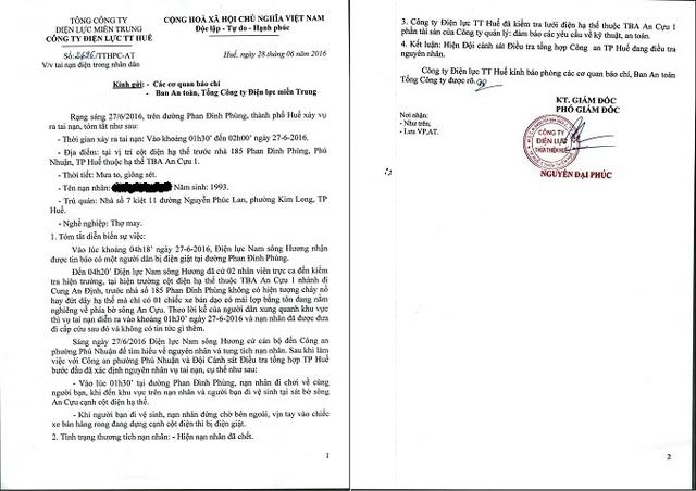 Công văn của Công ty Điện lực Thừa Thiên - Huế gửi các cơ quan báo chí về vụ tai nạn điện khiến một nữ sinh tử vong. Ảnh: Lê Chung
