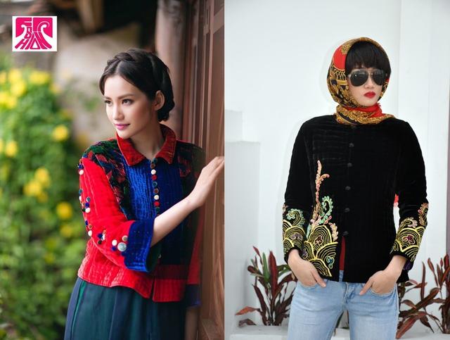 Áo bông của NTK Xuân Thu (trái) và áo mẫu của NTK Trịnh Bích Thủy (phải). Ảnh: TL