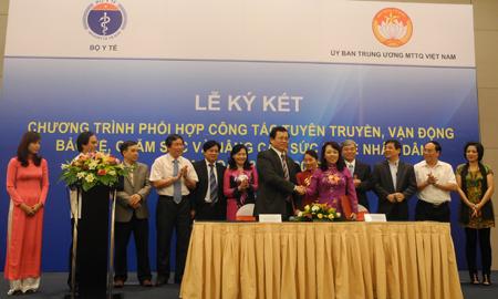 Bộ Y tế phối hợp UB Trung ương MTTQ Việt Nam tổ chức Lễ ký kết Chương trình hành động giai đoạn 2013-2016 2