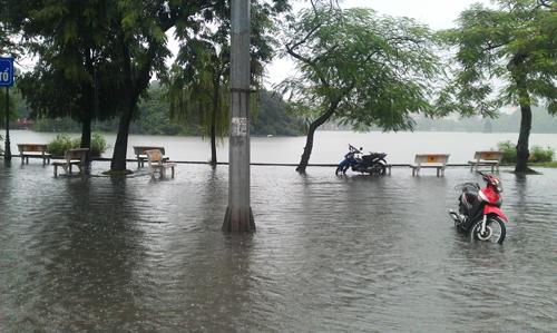 Cận cảnh Hồ Gươm nước tràn bờ 1