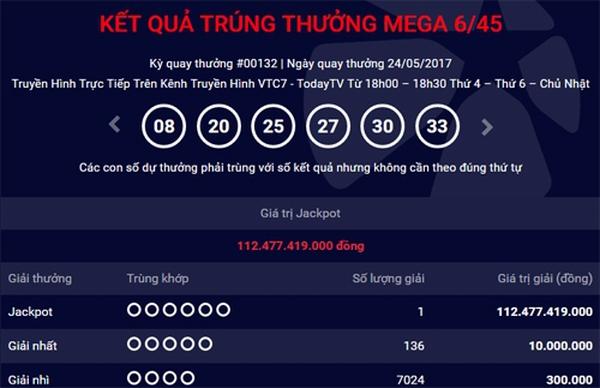 Một người trúng Vietlot kỷ lục hơn 112 tỷ đồng