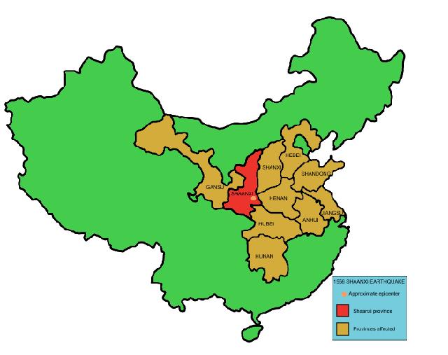 Vị trí Thiểm Tây (màu đỏ) và các tỉnh khác bị ảnh hưởng (màu cam). (Bản đồ này thể hiện ranh giới Trung Quốc hiện tại để minh hoạ cho các vùng bị thiệt hại chứ không thể hiện đầy đủ lãnh thổ của Nhà Minh). Ảnh: Wikipedia.