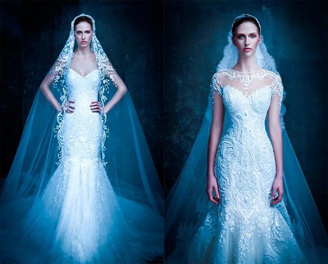 Kết hợp khăn đội đầu kết ren nổi, bạn gái nào cũng sẽ trở nên xinh đẹp và lộng lẫy như nữ hoàng trong ngày cưới của mình.