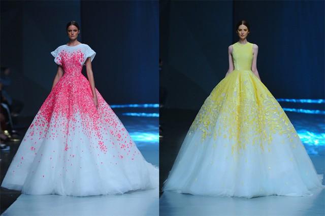 Những chiếc váy cưới dáng bồng, với các chi tiết hoa 3D nổi trội màu hồng, tím hay vàng pantone mang đến vẻ đẹp ngọt ngào, duyên dáng cho cô dâu trẻ.