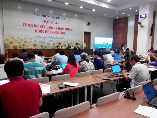 Họp báo công bố kết quả Kỳ họp 8, Quốc hội khóa XIII. Ảnh: Việt Nguyễn