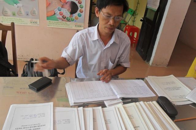 Bác sĩ Nguyễn Huy Phú với những hồ sơ bệnh án về người tâm thần trên địa bàn huyện Ứng Hòa. Ảnh: P.B