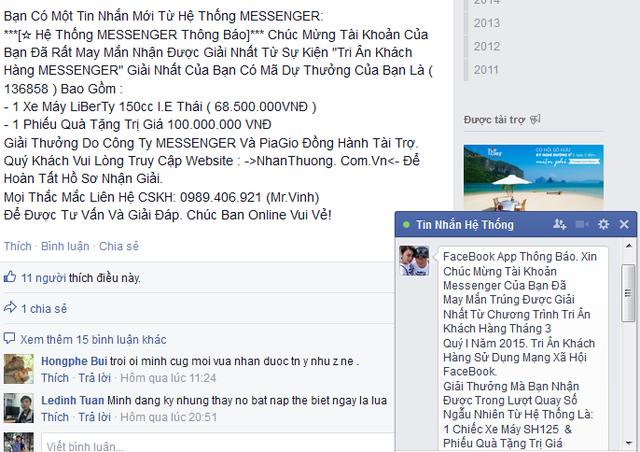Một người dùng facebook bị kẻ lừa đảo hack nick và đổi tên facebook thành Tin nhắn hệ thống