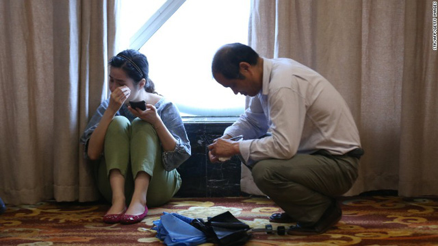 Relatives of passengers wait for information at a hotel in Nanjing, China, on June 2.