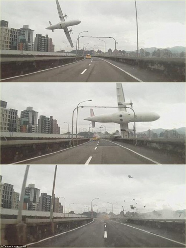 Smash: Terrifying pictures have emerged of a passenger plane with 58 people on board plunging into a river near Taiwans capital Taipei after clipping a bridge on the freeway