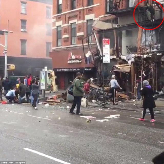 Brave: Eyewitness Troy Quan shared a video on Instagram showing a woman escaping one of the impacted buildings moments after the blast