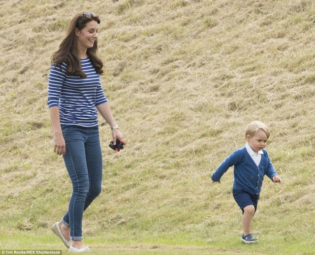 Making big strides: The confident young prince looked to be having a whale of a time and kept his mother busy for most of the day