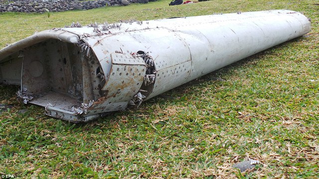 Weird thing on the shore: The 6ft-long wing flap, which experts believe comes from a Boeing 777 like the Malaysian Airlines plane, was half covered in sand and had barnacles encrusted on its edges when it was found by Mr Begue and his team of beach cleaners
