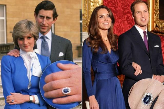 Nhẫn cưới của Công nương Diana và Công nương Kate - 317.000 USD. Chiếc nhẫn này đầu tiên thuộc về Công nương Diana và được đeo trong đám cưới của Công nương. Nó đã nhận được sự chú ý lớn của dư luận. Đến khi Công nương Kate chính thức trở thành người Hoàng gia, chiếc nhẫn với viên kim cương màu xanh này đã tìm được chủ nhân mới