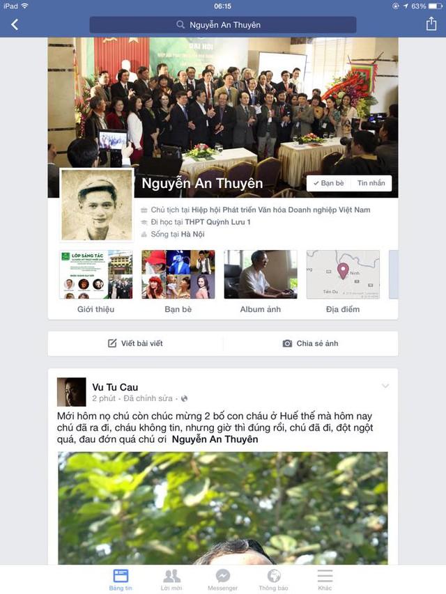 Facebook cá nhân của cố nhạc sỹ vẫn đang để ở chế độ mở để mọi người có thể vào gửi lời vĩnh biệt ông.