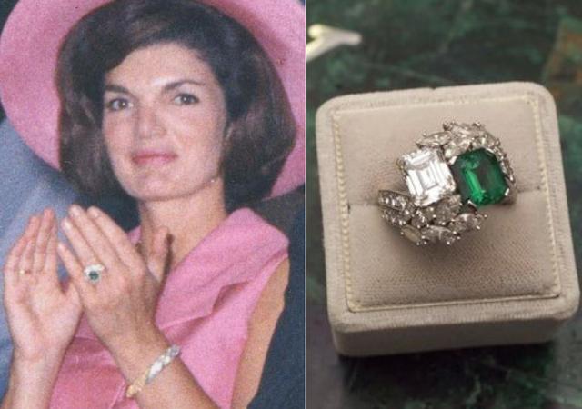 Jacqueline Kennedy Onassis - 2,6 triệu USD. Jacqueline được biết đến là người vợ cũ của Cố Tổng thống John Kennedy nhưng ít ai nhớ được bà cũng từng kết hôn với Aristotle Onassis - người đã mua tặng bà chiếc nhẫn đính hôn gây được sự chú ý lớn của dư luận trị giá tới 2,6 triệu USD