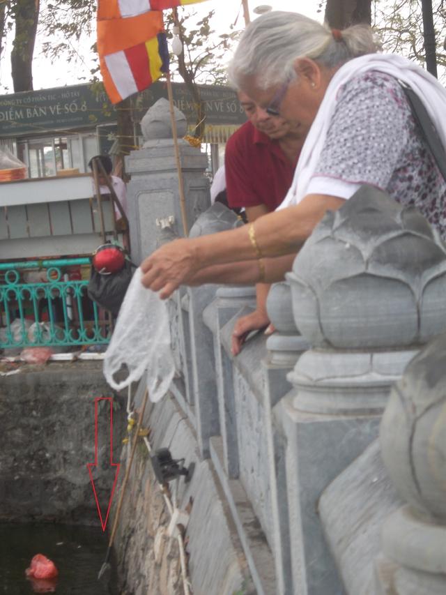 Người du khách nước ngoài mua ba ba thả phóng sinh ngay bên cạnh chiếc vợt đã dựng sẵn.