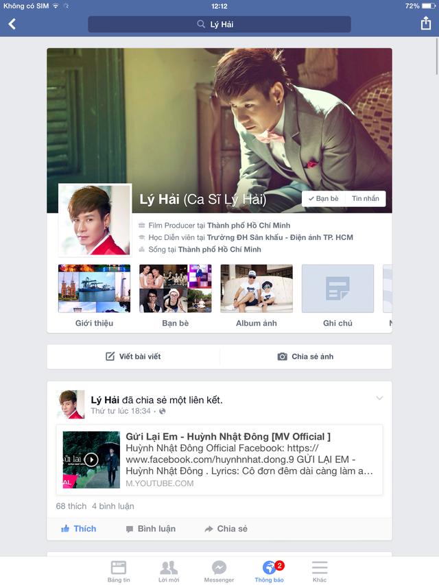 Ca sỹ Lý Hải chia sẻ link MV của Huỳnh Nhật Đông trên Facebook cá nhân.