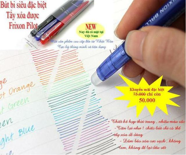 Loại bút có mực tự huỷ hay tẩy xoá được, đang rao bán trên thị trường trôi nổi