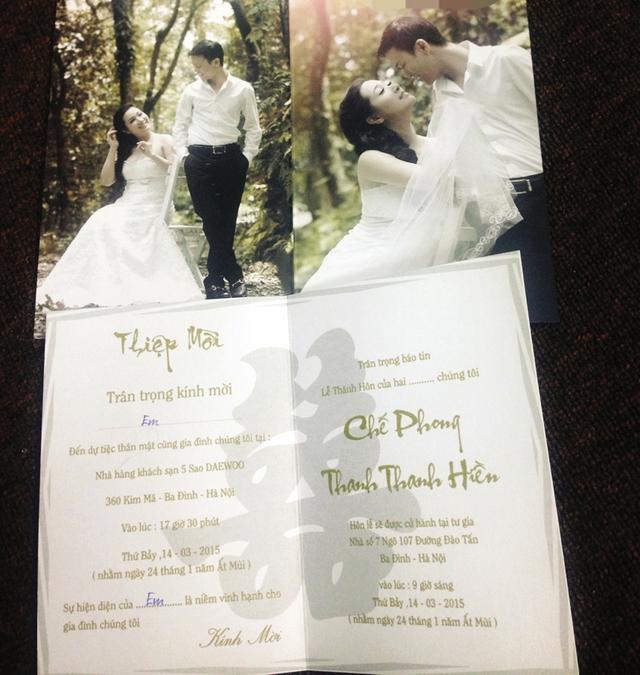 Thiệp mời đám cưới ba lớp của cặp nghệ sỹ Thanh Thanh Hiền - Chế Phong.