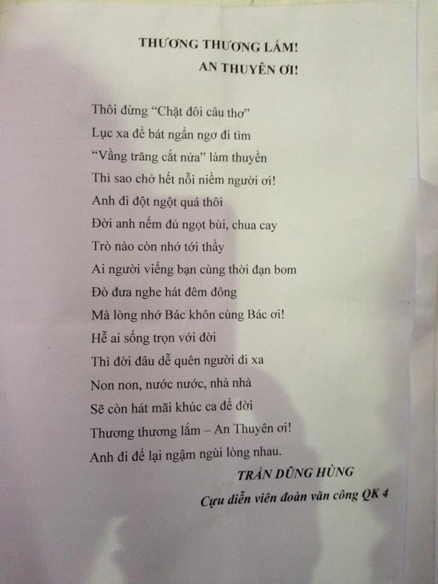 Đây là bài thơ của Trần Dũng Hùng, cựu diễn viên đoàn văn công QK4.