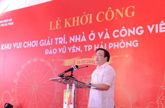 Phó Thủ tướng Hoàng Trung Hải phát biểu chỉ đạo tại Lễ khởi công dự án.
