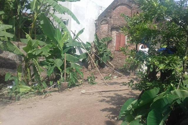 Khu vườn nơi phát hiện 2 bộ xương tại Phú Xuyên, Hà Nội. Ảnh: X.Thắng
