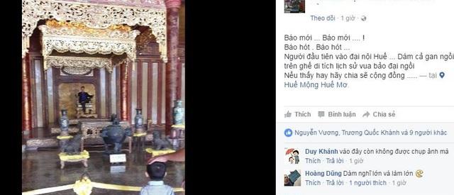 Hình ảnh nam thanh niên tạo dáng chụp ảnh trên ngai vàng được đăng tải trên một diễn đàn mạng xã hội