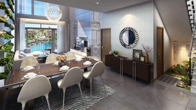 Phối cảnh căn hộ Duplex tại A3 The Arcadia với tầm nhìn xuyên suốt trục cảnh quan tiện ích trung tâm tuyệt mỹ.