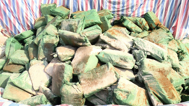 Hơn 600 tấn hải sản có chứa hàm lượng Cadimin vượt ngưỡng cho phép đang được các lực lượng chức năng Quảng Bình tiến hành tiêu hủy. Ảnh: M.K