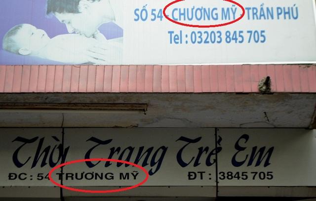 Cách viết tên phố khách nhau trên cùng một bảng hiệu. Ảnh: Đ.Tuỳ