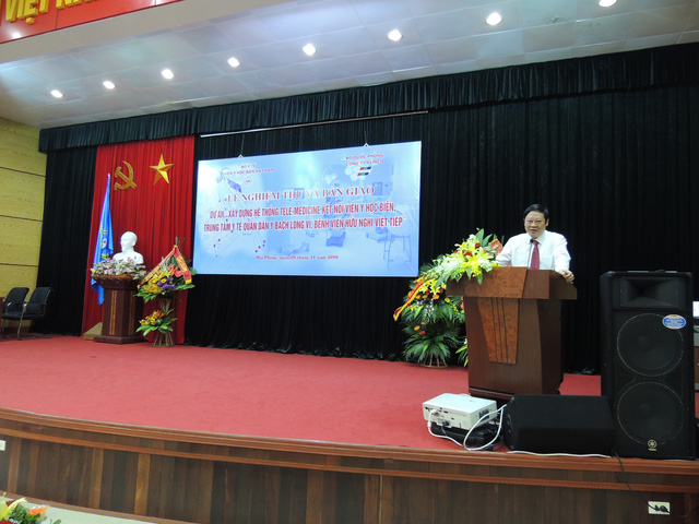 GS.TS. Nguyễn Viết Tiến - Thứ trưởng Bộ Y tế phát biểu tại lễ khánh thành hệ thống Telemedicine.