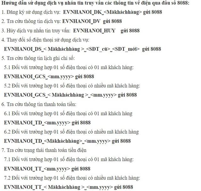 EVN HANOI hướng dẫn khách hàng thực hiện sử dụng dịch vụ truy vấn điện. Ảnh: TL