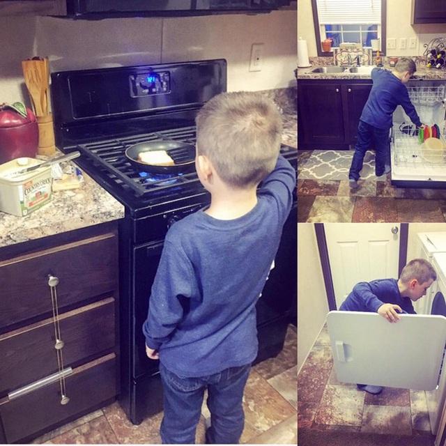 Hình ảnh cậu con trai Lyle làm mọi công việc nhà thành thạo cùng quan điểm của bà mẹ đơn thân đã gây sốt cộng đồng mạng.