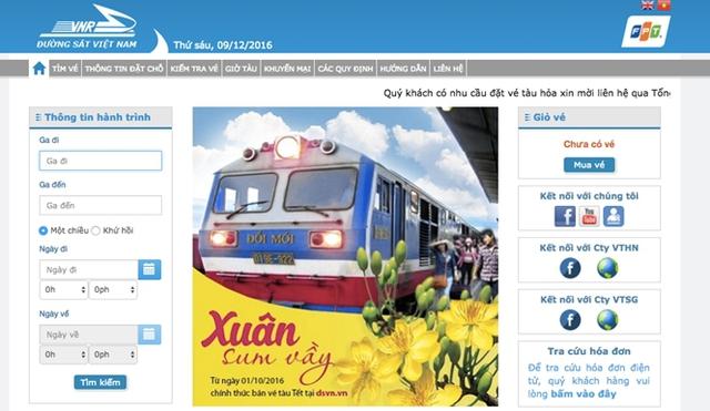 Trang web bán vé tàu chính thức của ngành đường sắt có tên là dsvn.vn