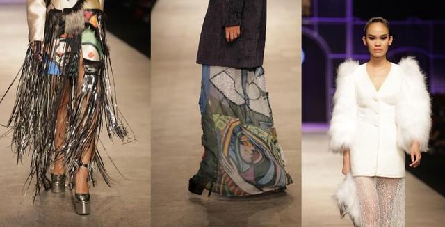 Sự kết hợp đa dạng giữa các chất liệu như sợi tổng hợp, organza, vải kim loại cũng giúp truyền tải thông điệp của bộ sưu tập và tinh thần nghệ thuật đương đại.