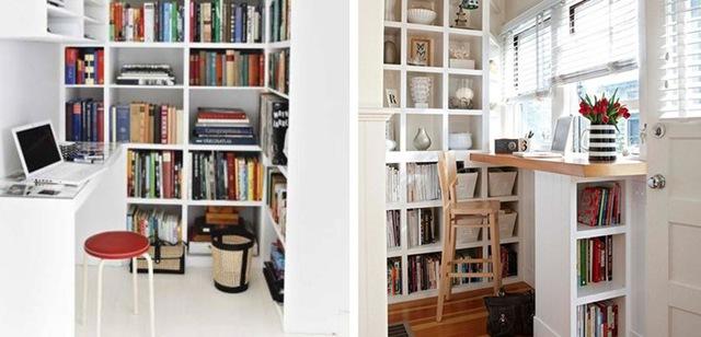 4. Tận dụng bệ cửa sổ để gắn bàn làm việc. Thêm kệ sách xung quanh để không gian làm việc thêm chuyên nghiệp.