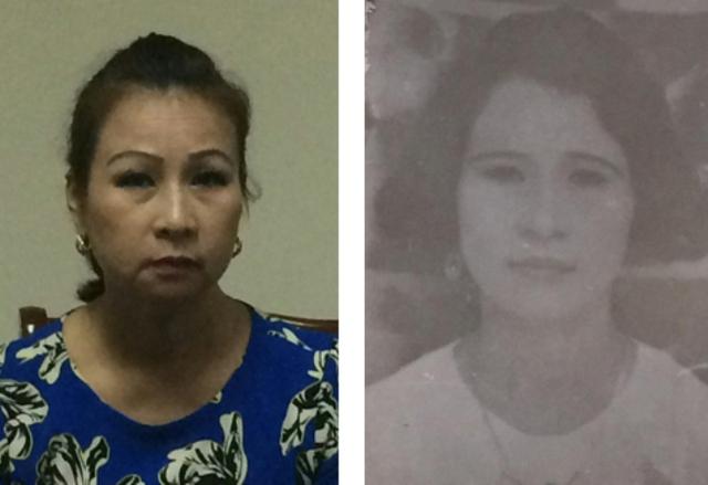 Đối tượng Đỗ Minh Thùy tại cơ quan Công an (trái) và ảnh truy nã năm 1996 (phải).  Ảnh: (Cơ quan công an cung cấp)