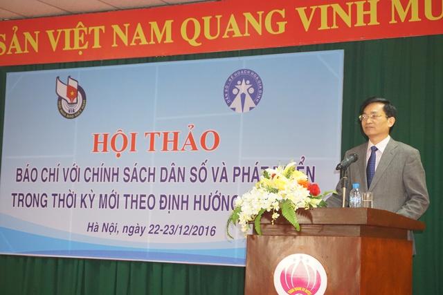 TS Lê Cảnh Nhạc, Phó Tổng cục trưởng Tổng cục DS-KHHGĐ phát biểu tại Hội thảo. Ảnh: N.Mai