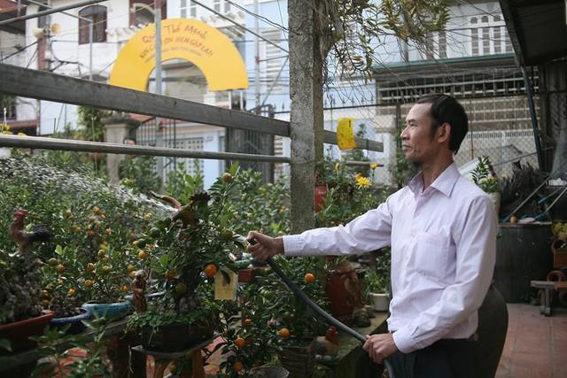 Ông Nguyễn Thế Mạnh là người trồng quất bonsai nổi tiếng ở Tứ Liên (Tây Hồ, Hà Nội). Ông Mạnh cho biết, mỗi năm người chơi quất cảnh lại có một nhua cầu chơi khác nhau. Năm nay năm con gà nên nhiều người thích chơi quất hình gà.