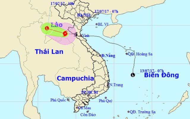 Vị trí và hướng di chuyển của bão số 2. Ảnh Trung tâm Dự báo KTTVTƯ.