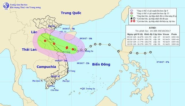 Hướng di chuyển của ATNĐ tấn công vào Việt Nam.