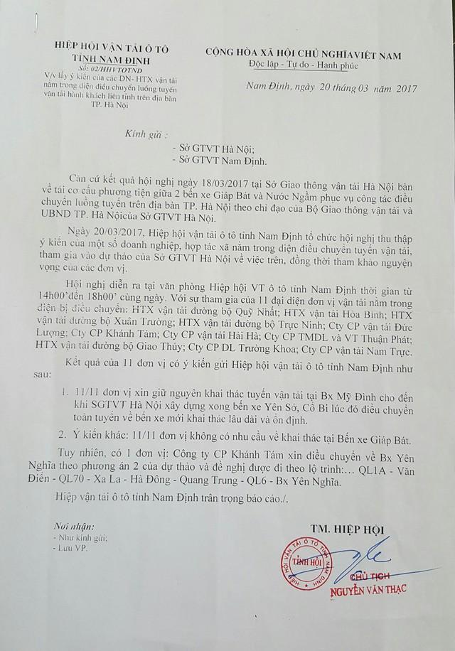 """Hiệp hội vận tải ô tô tỉnh Nam Định cho biết: """"Tất cả các DN vận tải không có nhu cầu về khai thác tại bến xe Giáp Bát""""."""