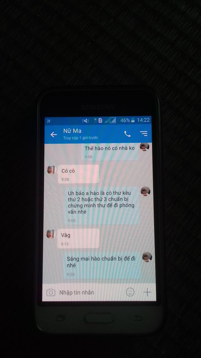 Những dòng tin nhắn cuối cùng giữa Hào và người cô ruột. Ảnh: X.Thắng