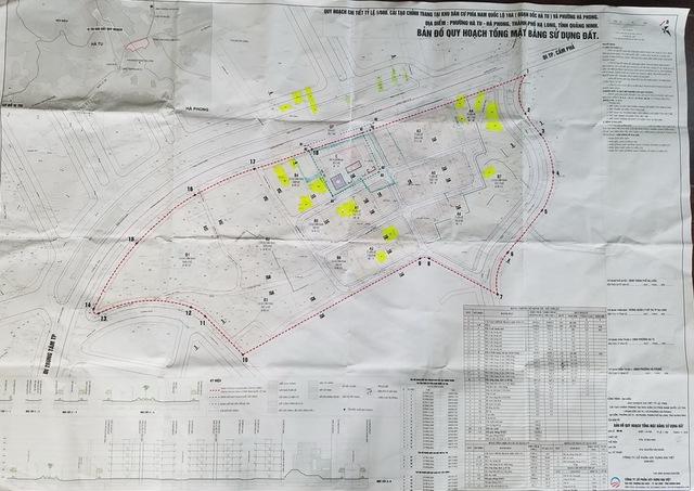 Bản đồ quy hoạch thể hiện dự án chỉ lấy đất các hộ chưa có sổ đỏ và các ô đất vuông vắn sau quy hoạch.