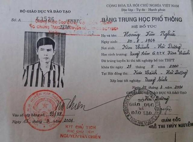 Sở GD &ĐT tỉnh Hải Dương khẳng định, bằng tốt nghiệp THPT hệ bổ túc của ông Nghĩa không hợp lệ. Ảnh: Đ.Tùy